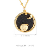 Planet and Crescent Moon_Blue Goldstone Disc Pendant Necklace, 21.5 inches