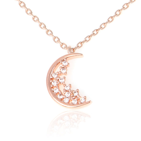Crescent Moon and Little Star CZ Disc Necklace