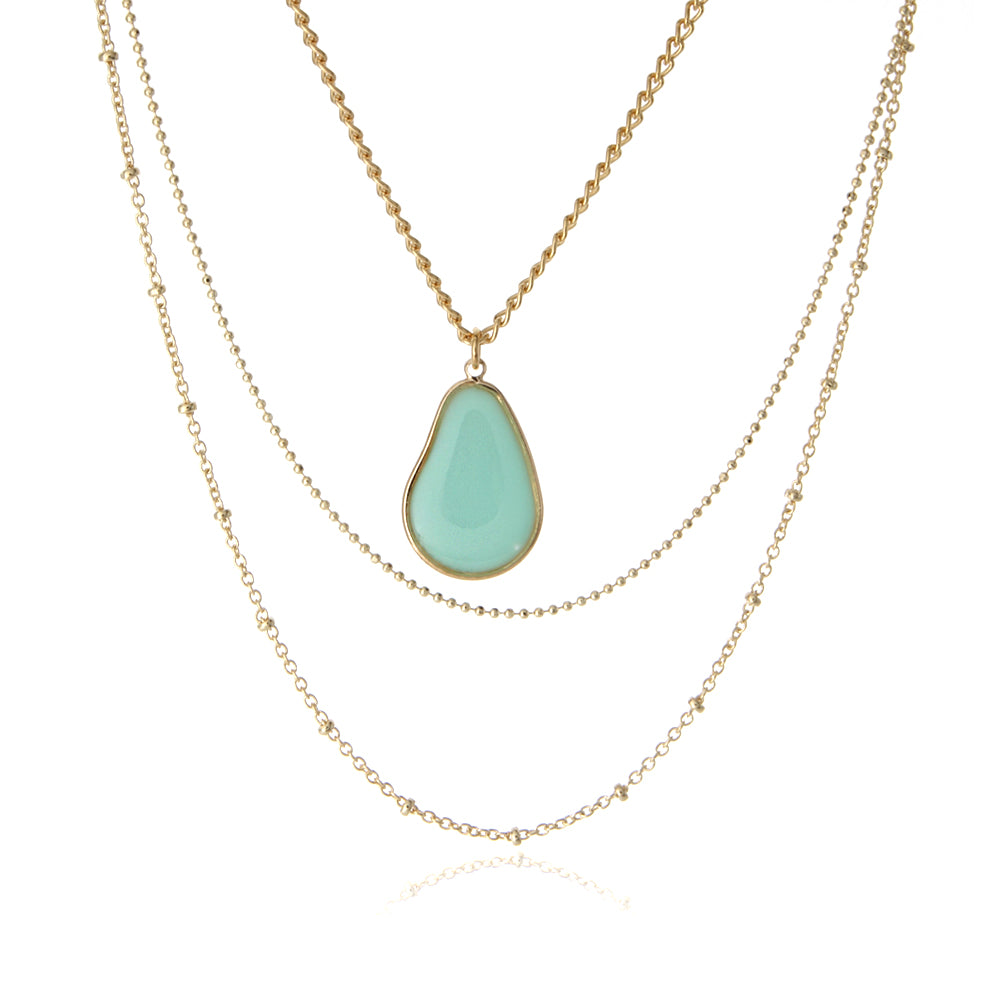 Epoxy Teardrop Layered Necklace, 18 inches
