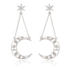 Dotted Crescent Moon and Star Dangle Earrings Plated Brass