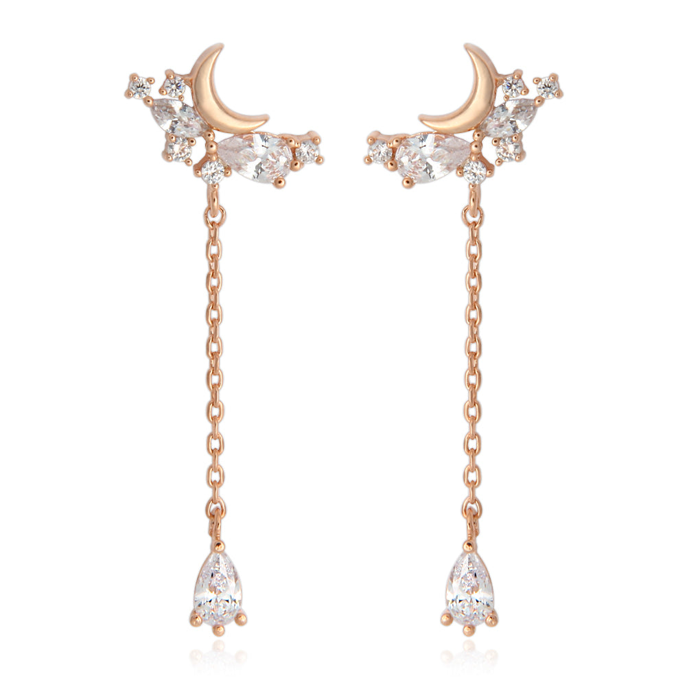 Crescent Moon and Teardrop Crystals Long Chain Drop Earrings
