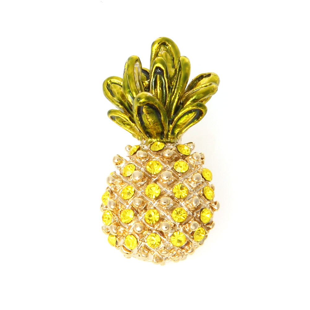 Tropical Pineapple Fruit Brooch Pin Rhinestone Crystals