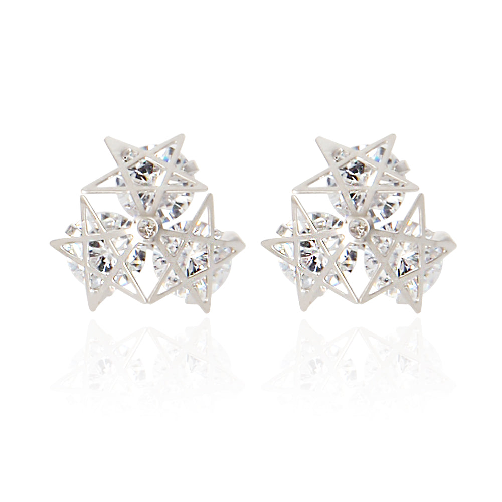 3 Line Stars and Simulated Diamonds Earrings
