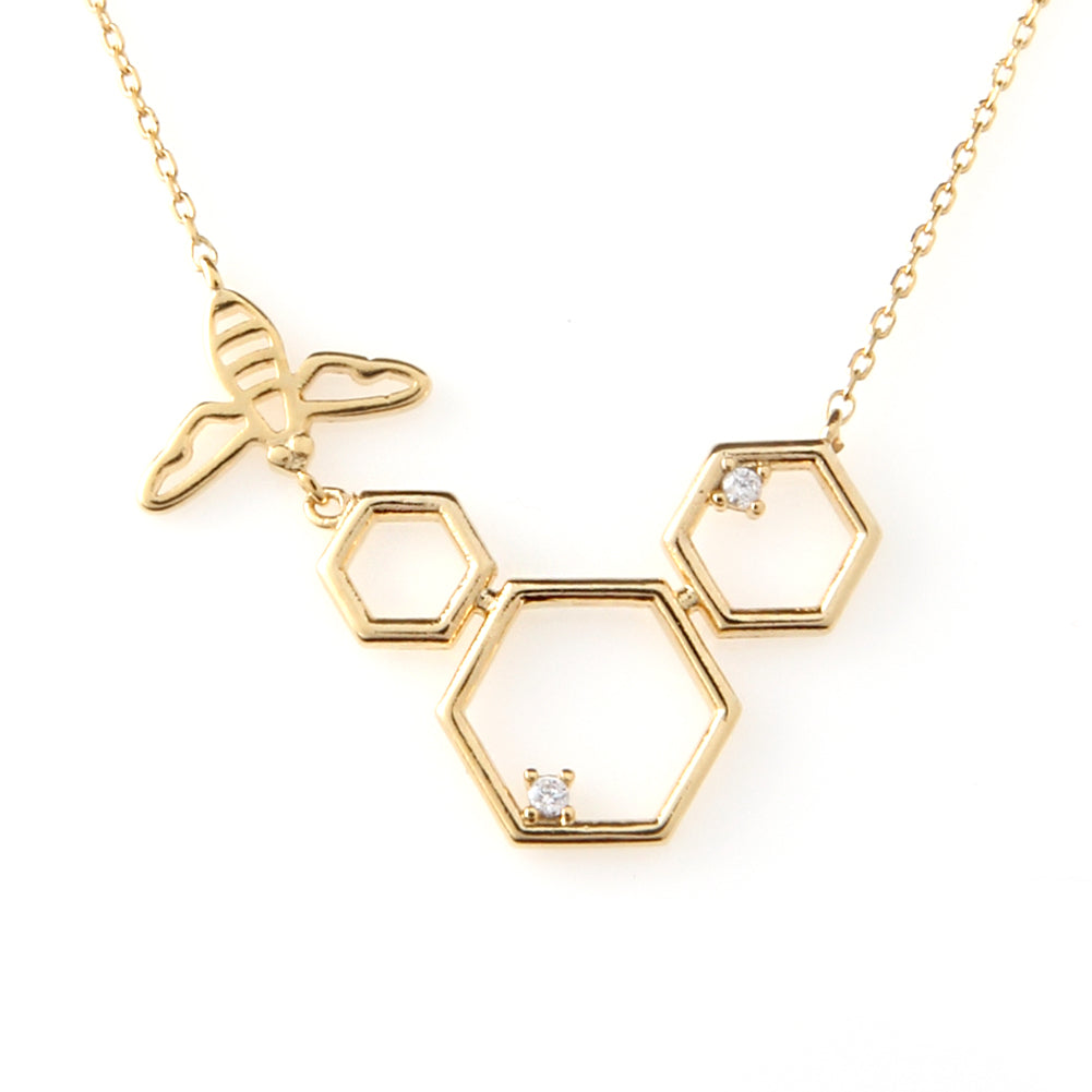 Honeybee and Comb Necklace