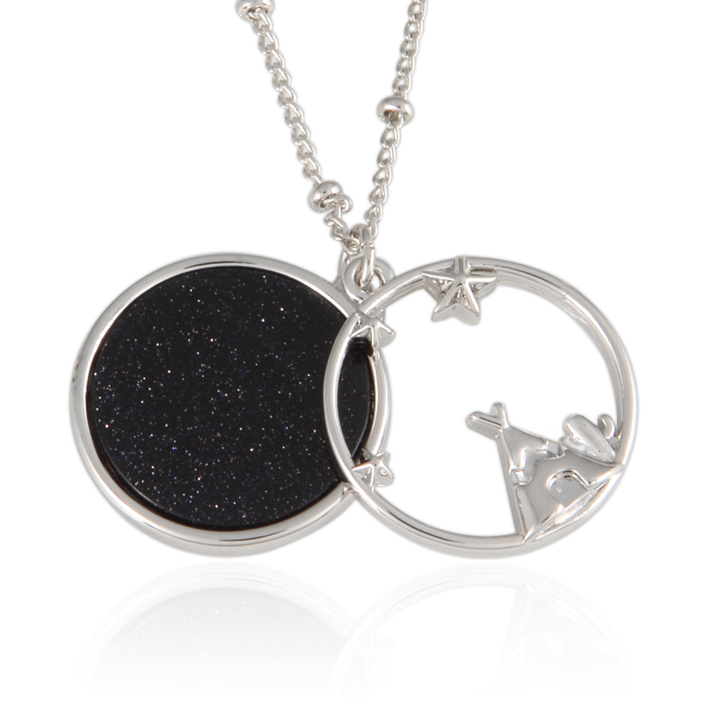 Stars and Teepee_Blue Goldstone Disc Pendant Necklace, 21.5 inches