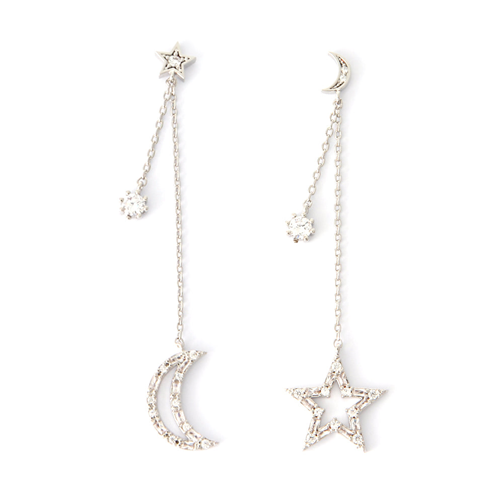 Tapered Baguette CZ Crescent Moon and Star Drop Earrings