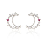 Tiny Dotted Crescent Moon Earrings with Ruby Colored Crystal Point