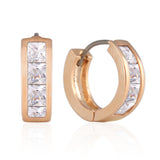 13 mm_Princess Cut CZ Hoop Huggie Earrings