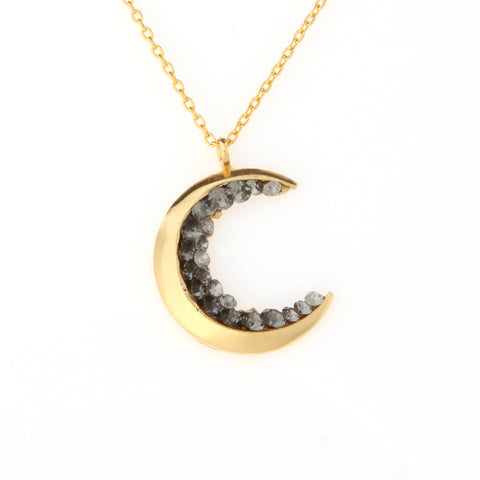 No.2 Crescent moon and tiny star Earrings with CZ