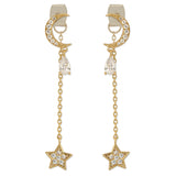 CZ Crescent Moon With Teardrop Crystal and Chain String Star Earrings