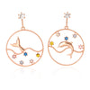 Dolphin and Whale Tail Circle Drop Earrings Plated Brass
