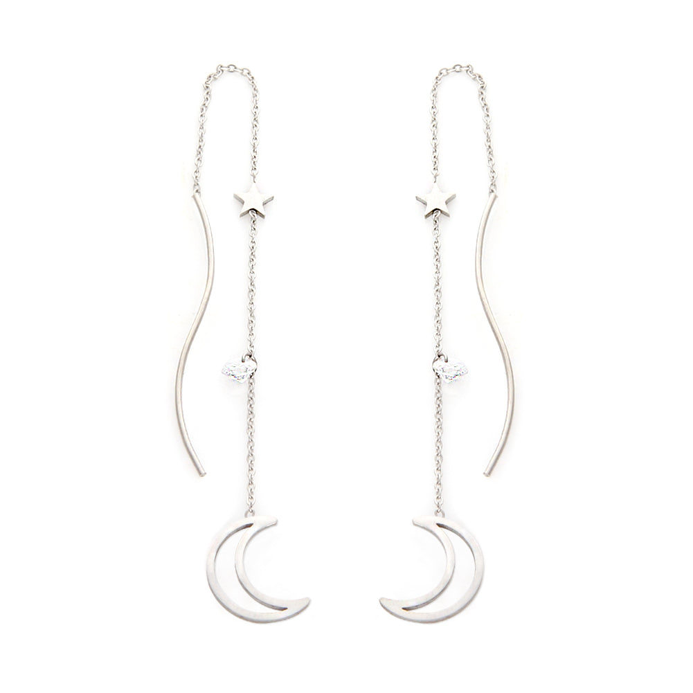 Stainless Steel Crescent Moon and Star Threader Earrings
