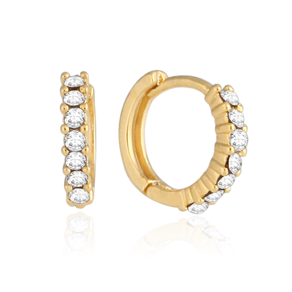 9 mm_Cubic Zirconia Small Hoop Huggie Earrings 14K Gold Plated