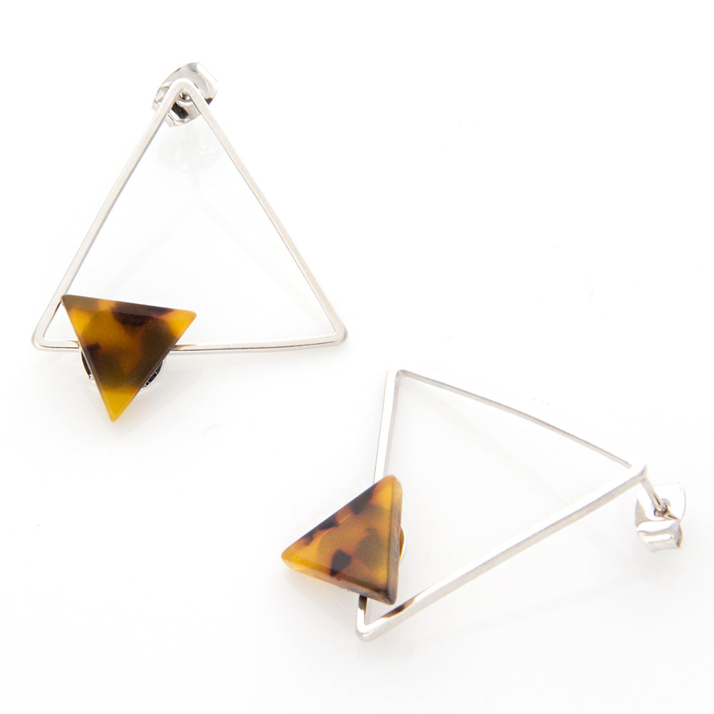 Open Triangle with and Resin Triangle Earrings
