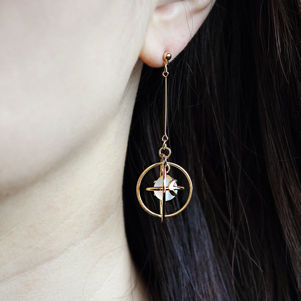 Circle Planet Dangle Earrings, Drop Earrings, Saturn