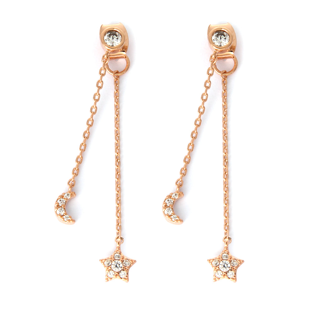 Little CZ Crescent Moon and Star Chain Drop Earrings and Bezel Earrings