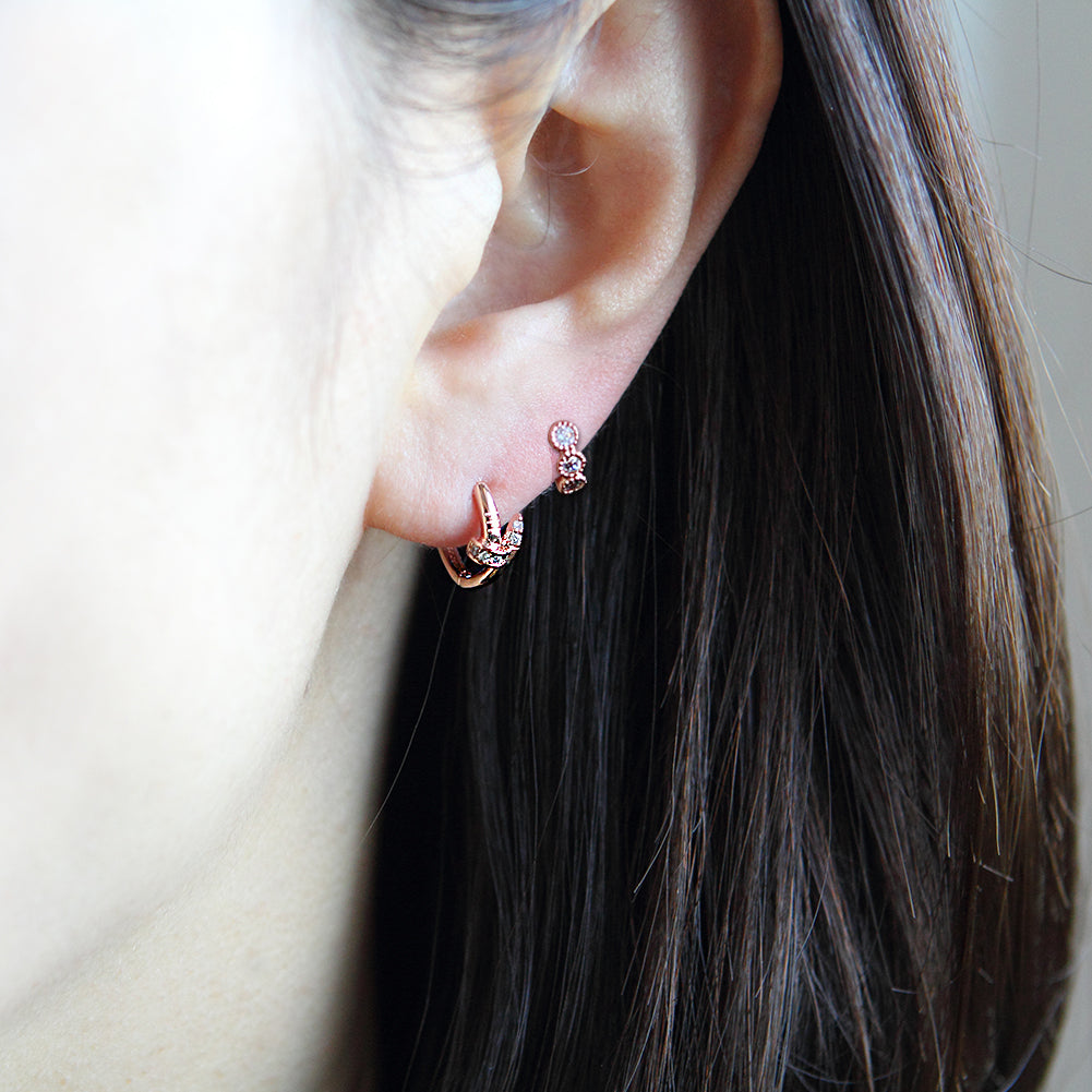 12 mm_ Small Nail CZ Accent Huggie Hoop Earrings