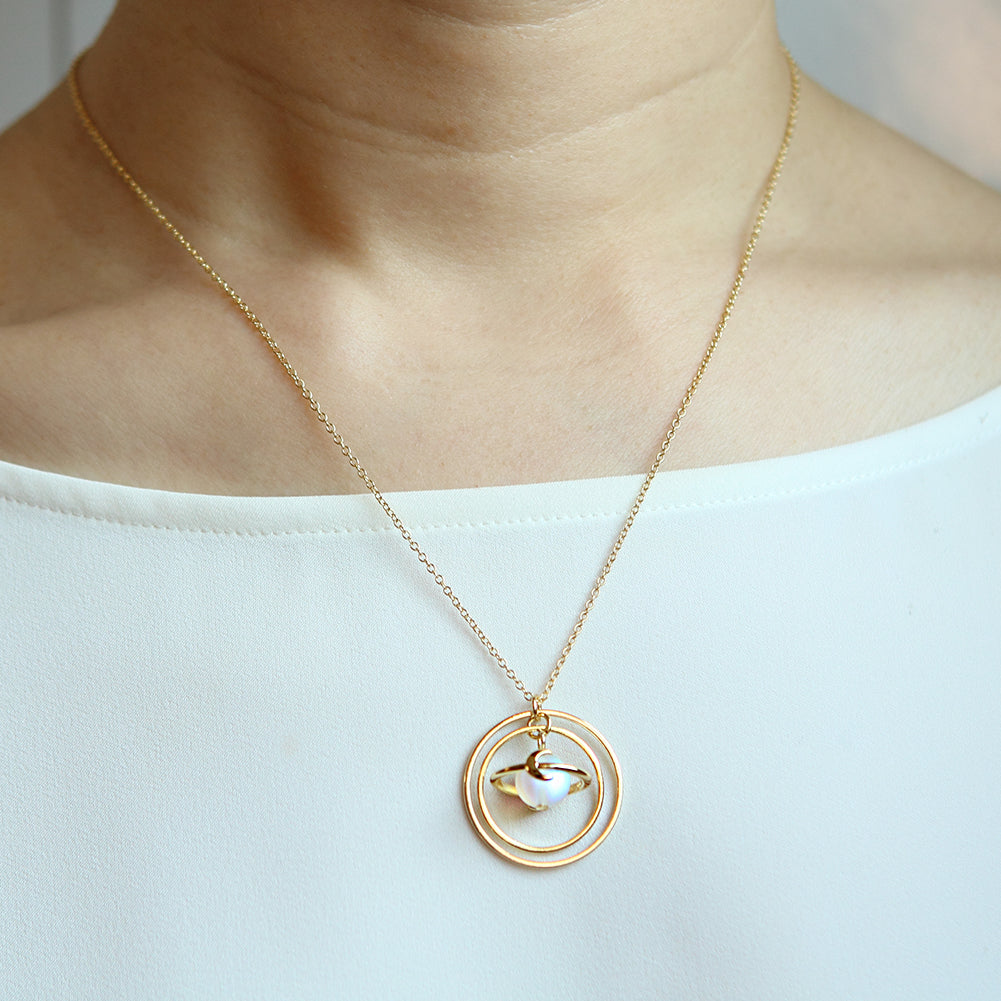 Circle Planet Necklace Moon and Star Saturn, 20""