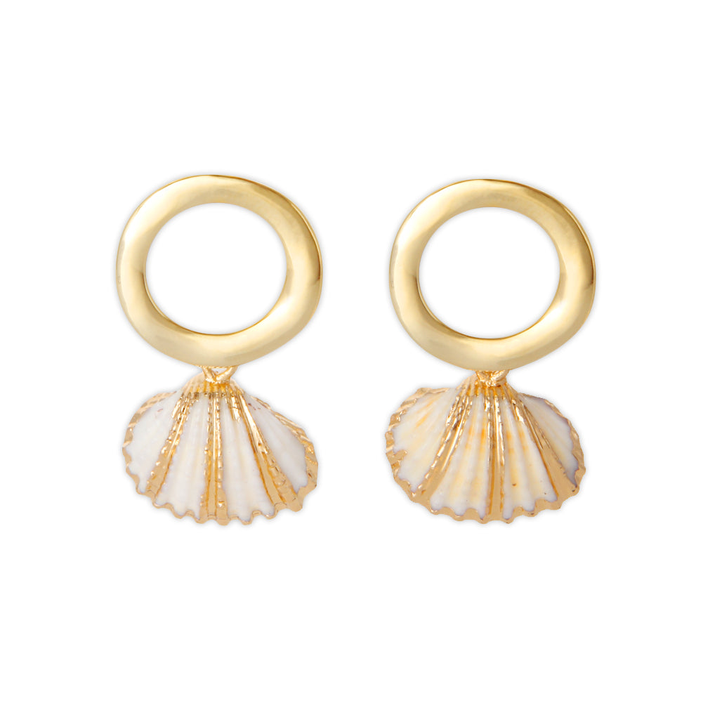 Gold Irregular Open Circle and Golden Accent Scallop Drop Earrings