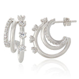 CZ Split Huggie Earrings | Triple Hoop Earrings