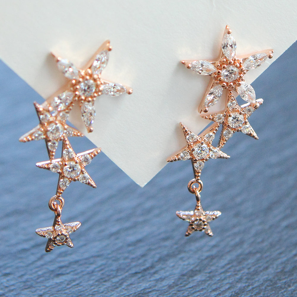 Flowers and Stars Crystal Dangle Drop Earrings