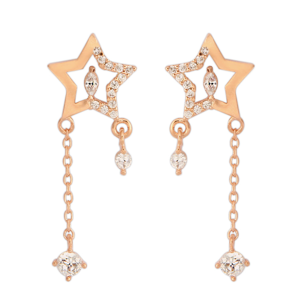 Star and Marquise CZ Chain Drop Earrings
