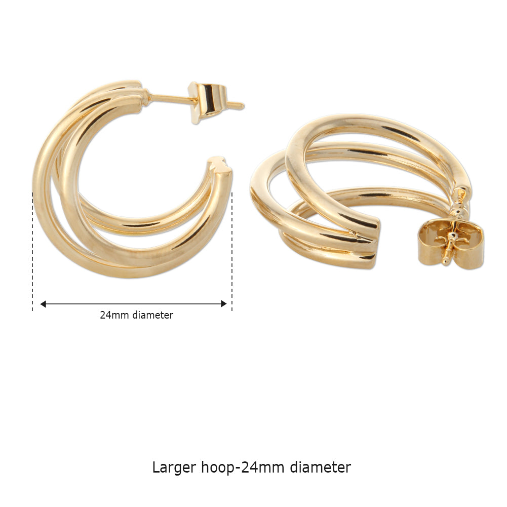 24MM Split Huggie Earrings | Triple Hoop Earrings