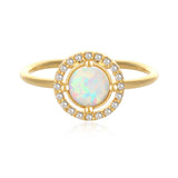 Round Created Opal and CZ Adjustable Ring