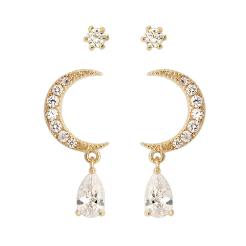 Wedding CZ Teardrop Crystal Dangle Earrings