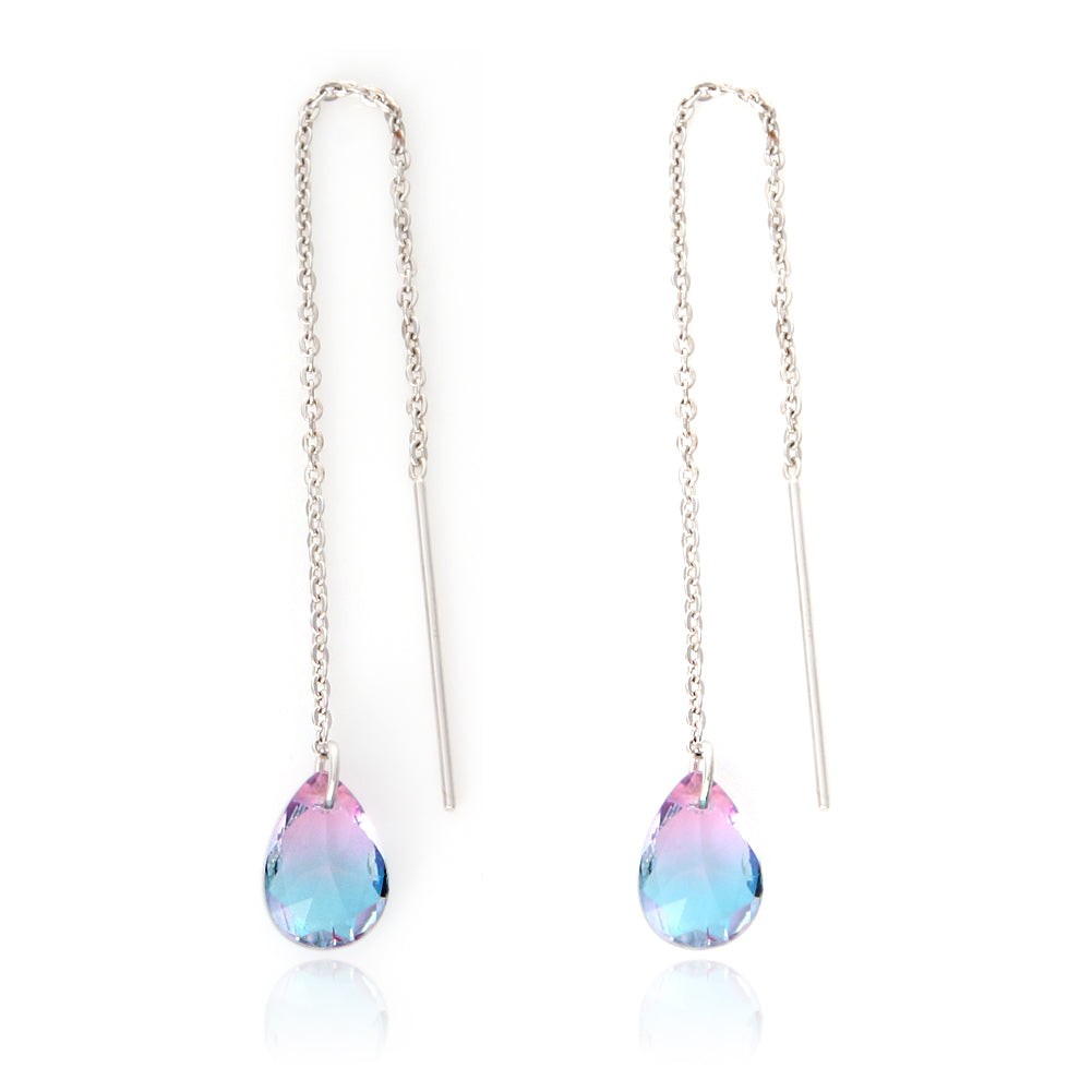 Long Chain Drop Threader Slide Earrings with 2 Tone Teardrop Crystals