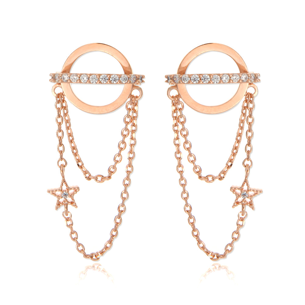 CZ Planet and Tiny Star Chain Drop Earrings
