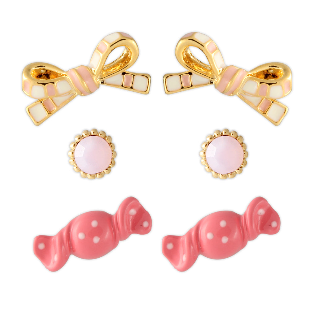 3 set of Candy Bow and Round CZ  earrings for girls