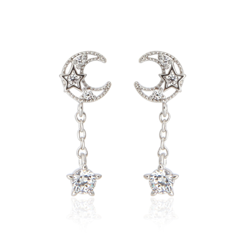 Tiny Crescent Moon and Star Earrings with Round CZ