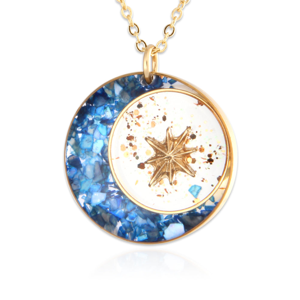 Epoxy Mother of Pearl 14K Gold Plated Crescent Moon and Star Necklace