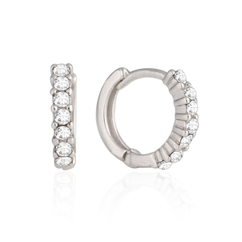 13 mm_ Diamond Cut Faceted Huggie Small Hoop Earrings