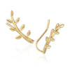 Olive Leaf Ear Climbers Cuff Crawler Earrings