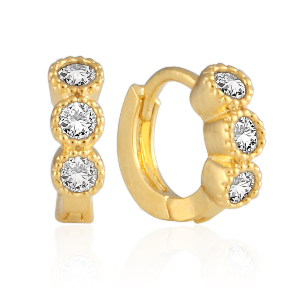 8 mm_CZ Huggie Tiny Hoop Earrings 14K Gold Plated