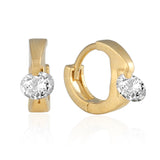 10 mm_ Cubic Zirconia Huggie Hinge Earring 14K Gold Plated