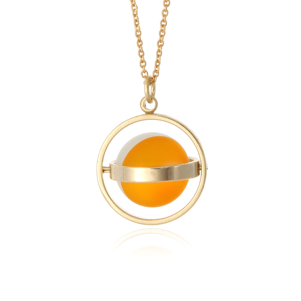 Colorful Circle Planet Necklace Gold Tone, 20""