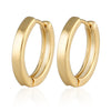 13 mm_Plain Huggie Hoop Earrings 14K Gold Plated