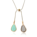 Epoxy Teardrop Y Lariat Long Chain Drop Adjustable Necklace to 30 inches