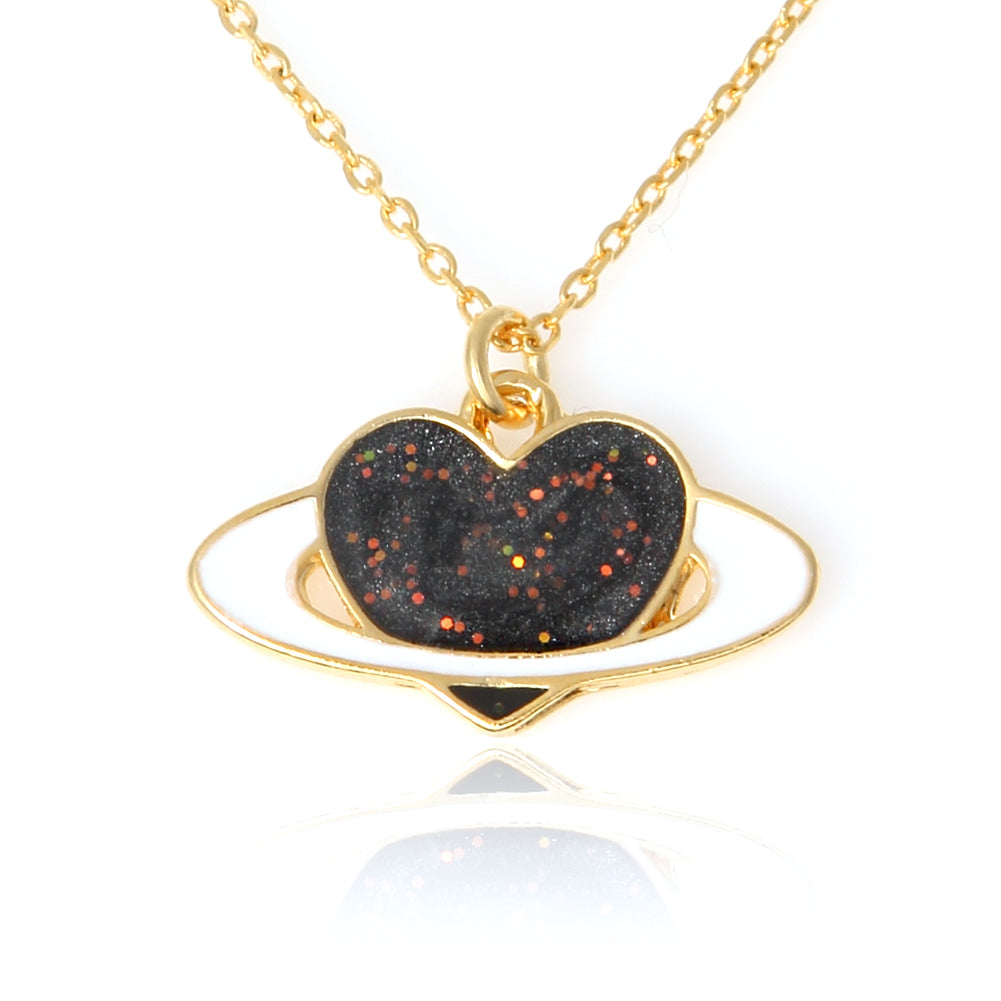 Epoxy Heart Planet Necklace