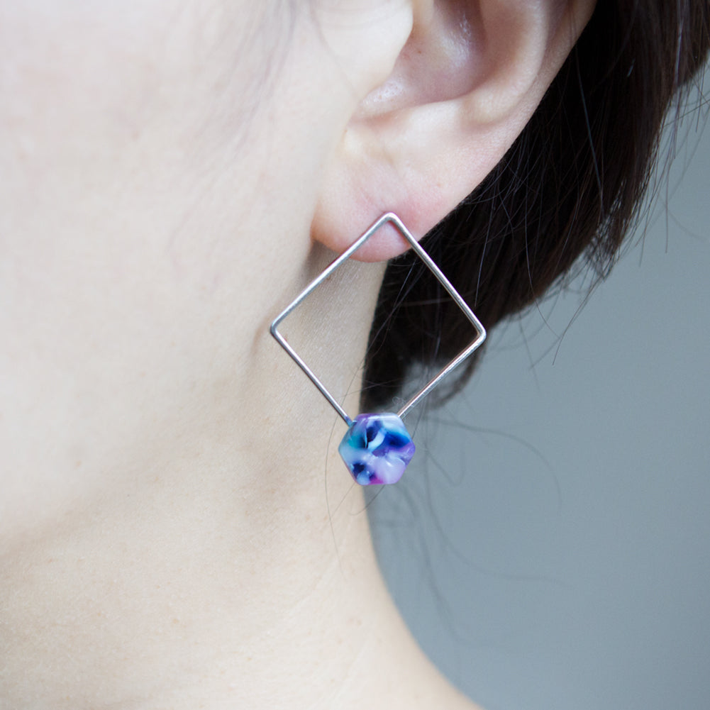 Open Rhombus with and Resin Hexagon Earrings