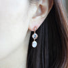 Celtic Cross and Oval Diamond Shape Crystal Dangle Earrings