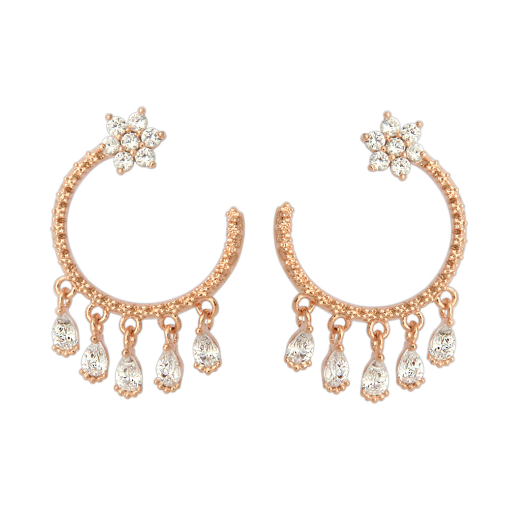 CZ Flower and Circle With Teardrop Crystals Earrings