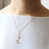 CZ Crescent Moon and Star Drop Necklace