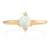 Simple Created Opal and CZ Adjustable Ring 14K Gold Plated