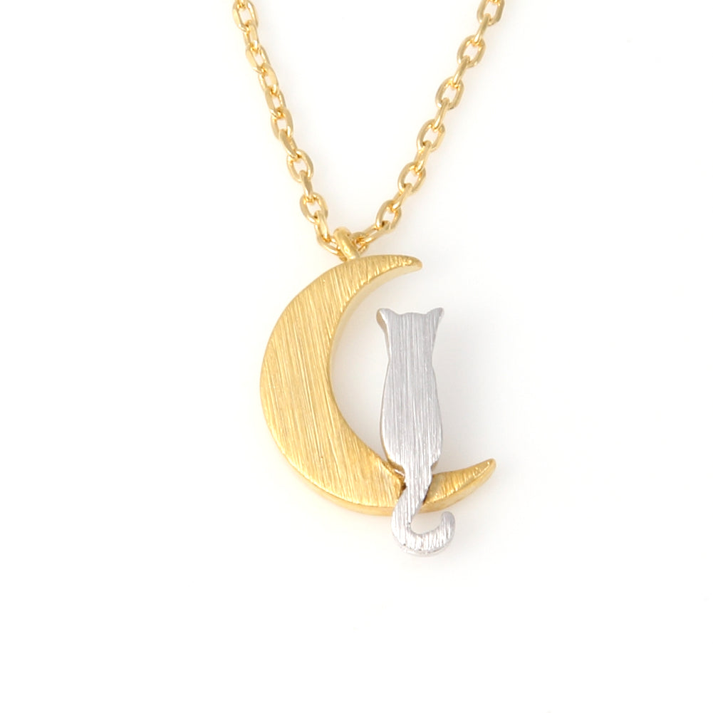 Crescent Moon and Cat Necklace