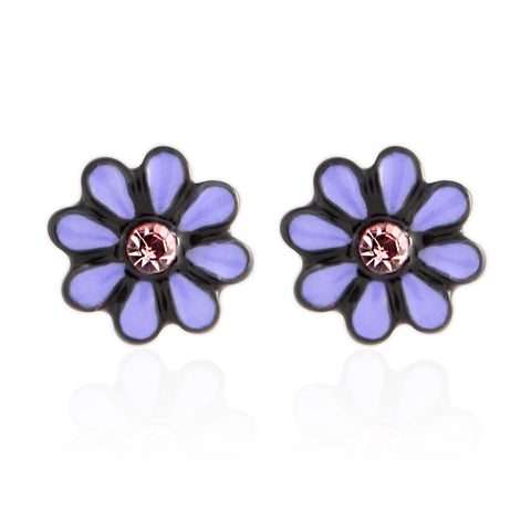 Pink Flower_Tiny Black Coated earrings for Girls