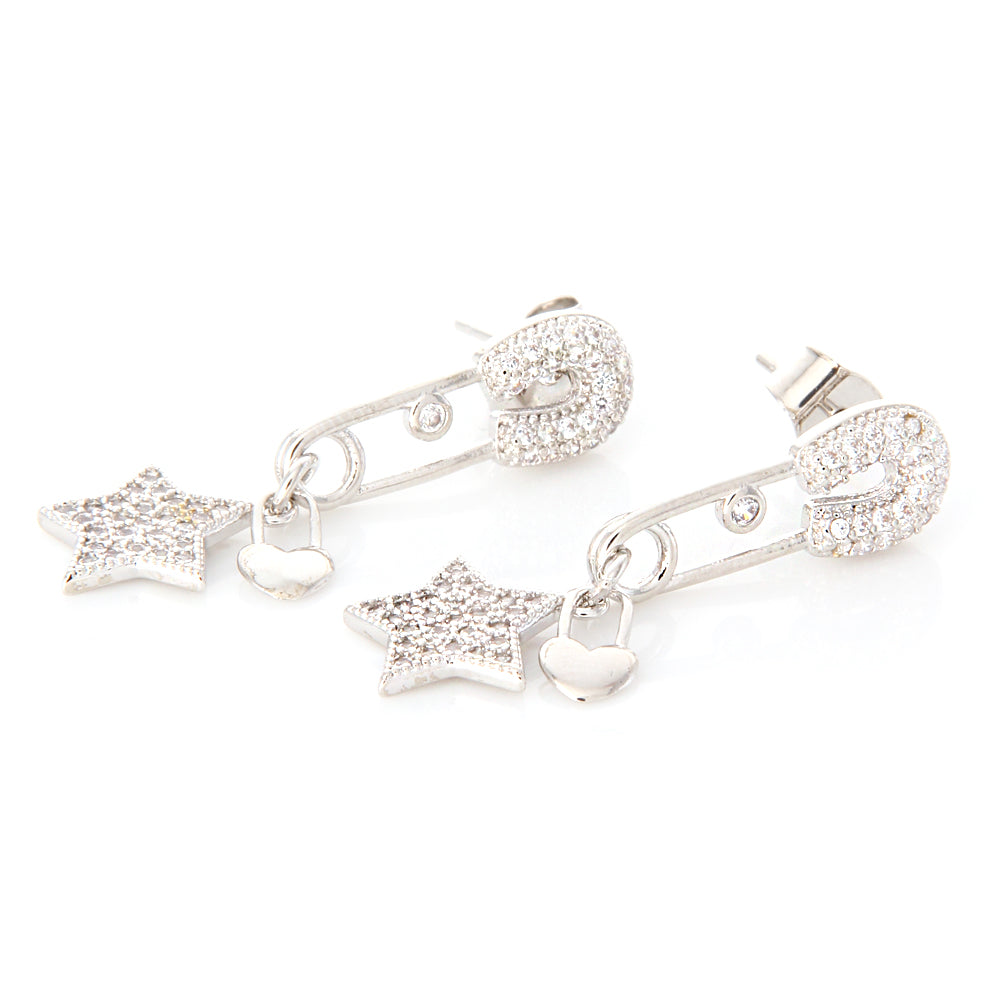 CZ Safety Pin and Star Heart Shape Lock Drop Earrings
